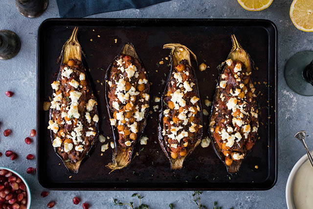 NEW Spiced chickpea and lentil stuffed aubergines